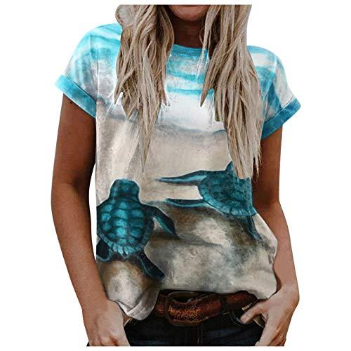 Camiseta de verano para mujer con estampado de océano,...