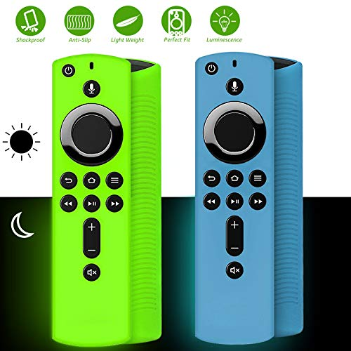 [2 Pack ] Firestick Remote Cover Glow, Silicone Fire Remote Cover Compatible with 4K Firestick TV Stick, Firetv Remote Cover, Lightweight Anti Slip Shockproof Firetv Remote Cover