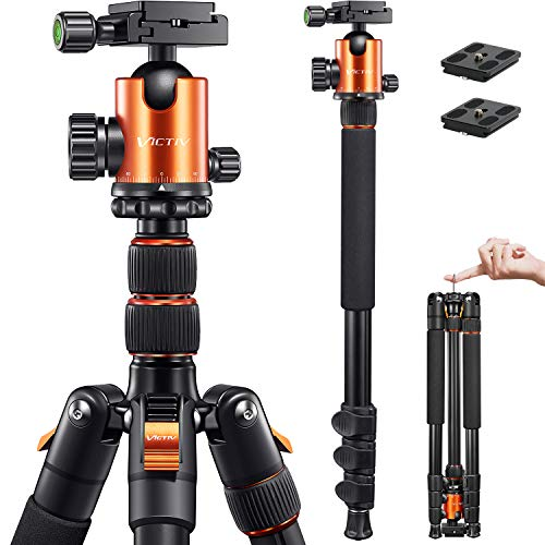 VICTIV Camera Tripod 81 inches Monopod, Aluminum Travel Tripod for DSLR, Lightweight Tripod Loads Up to 19 lbs with 360...