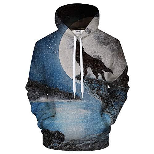 XIELH sweatshirt met capuchon, 3D-print, wolf, heren en dames, sweatshirt met capuchon, tute, unisex pullover mantel met lange mouwen