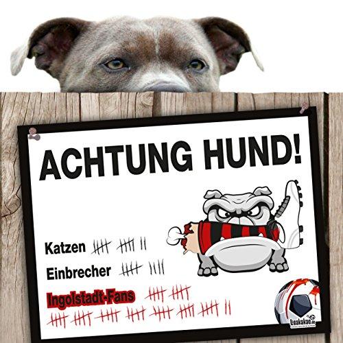 Hunde-Warnschild Schutz vor Ingolstadt-Fans | FCA-, Heidenheim- & alle Fußball-Fans, Dieser Revier-Markierer schützt Haus & Hof vor Ingolstadt-Fans | Achtung Vorsicht Hund Bissig