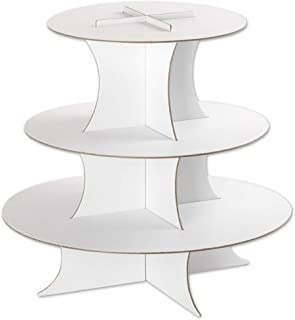 Andaz Press 3 Tier Cupcake Stand, Round Cupcake Board, Holds 20 Standard Size Cupcake Liners, Disposable Cupcake Holder, Serving Platter, for Birthday, Wedding, Bridal Shower, Baby Shower