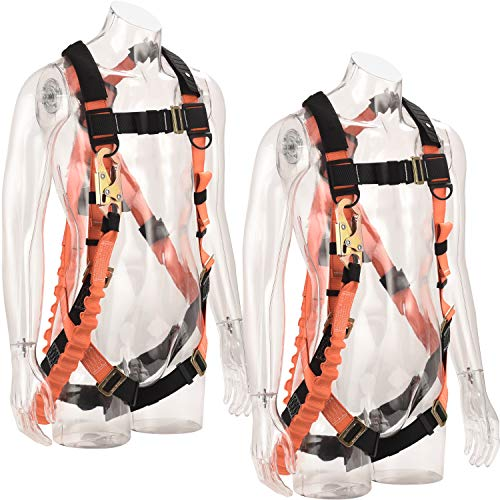 WELKFORDER 1D-Ring Industrial Fall Protection Safety Harness with 6-Foot Shock Absorber Stretchable Lanyard [Snap Hook End]   Permanent attached Kit   ANSI Compliant Personal Fall Arrest System(PFAS)