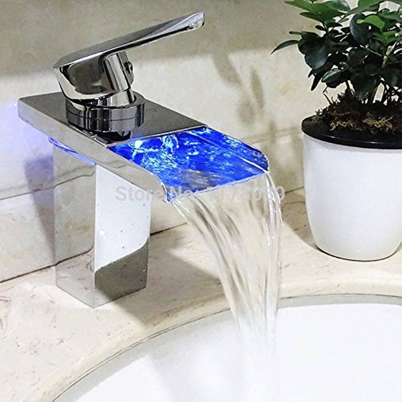 U-Enjoy Angeführt Selbstleuchtende Temperatur Top Qualittskontrolle Three-Farbe-Wasserfall-Hahn-Messing Einzelne Loch-Wasserfall-Badezimmer-Led-Hahn [Kostenloser Versand]