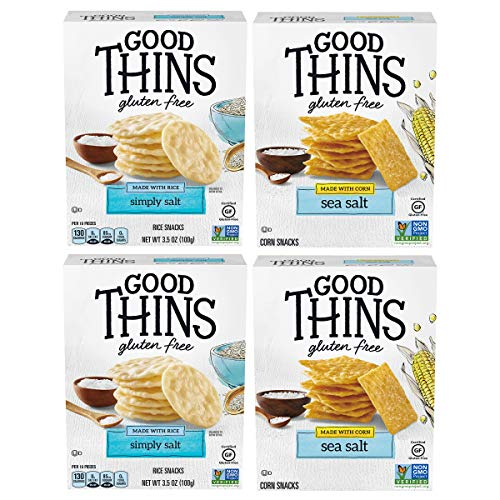 Good Thins Gluten Free Rice & Corn Crackers Variety Pack, 4 Boxes