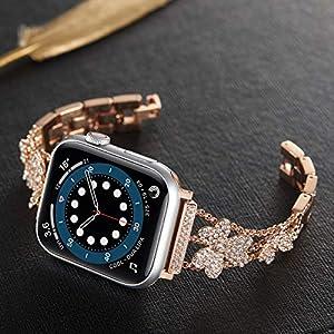 アップルウォッチ バンド 38mm/40mm 三つ葉 クローバー 金属製 レディース 交換用 ベルト Apple Watchと互換性あり Series6/SE/5/4/3/2対応 おしゃれ 合金 腕時計バンド キラキラ ブリンブリン (ローズゴールド)