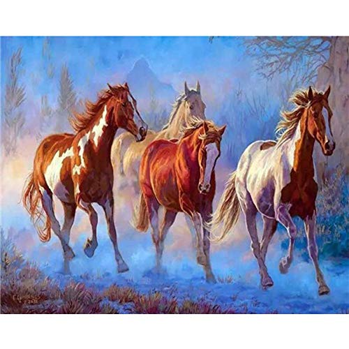 DIY 5D Diamond Painting by Number Kits for Adult,Full Round Drill Embroidery Cross Stitch Arts Craft Wall Decor Three Horses 15.7x11.8 in By Bemaystar