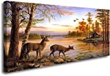 ArtHome520 Yellow Autumn Landscape Wall Art Canvas Print Painting Home Decor Golden Animal Deer Picture Living Dining Room Decorations Fashion Framed (24''x48'')