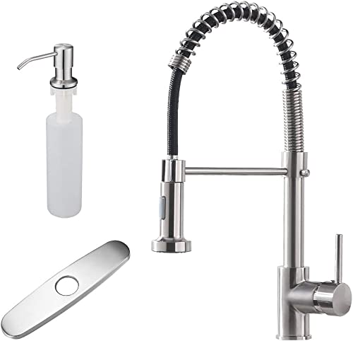 discount OWOFAN Kitchen 2021 Sink Faucet with Hole Cover Plate with Soap Dispenser Brushed online Nickel outlet online sale