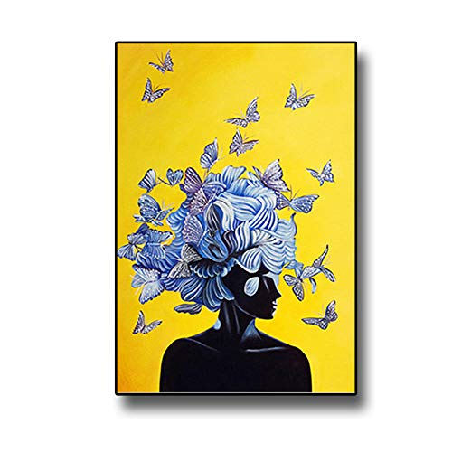 mmzki Arte de la Pared para la Cocina Abstract Girl with Butterfly Nordic Canvas Painting Yellow Blue Posters and Print Cuadros Wall Art Picture for Living Room Decor No Frame