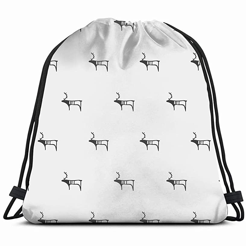 scandinavian petroglyph elk hand animals wildlife ancient Drawstring Backpack Gym Sack Lightweight Bag Water Resistant Gym Backpack for Women&Men for Sports,Travelling,Hiking,Camping,Shopping Yoga