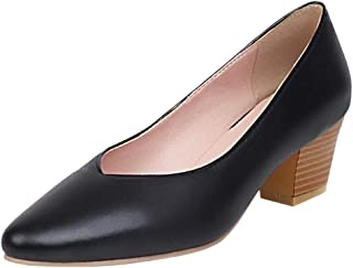 Kaizi Karzi Women Elegant Chunky Heel Pumps Slip on