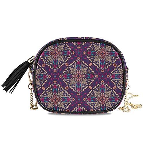 LUPINZ Schultertasche/Clutch mit arabischem Stil und Kette, Schultertasche