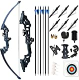 Monleap Archery 51' Takedown Recurve Bow and Arrows Set for Adults Metal Riser Longbow Kit Right Hand Straight Bow for Beginner Hunting Shooting Practice 30 40 50lb (Black 50lb)