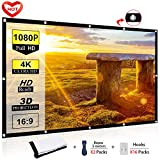 Ylife 100 Inch Projector Screen, 16:9 HD 4K No Crease Portable Video Movie Screen Grommets for Outdoor Indoor Home Theater