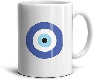 Greek Evil Eye Symbol of Protection White Ceramic Coffee Mugs Souvenir Cup