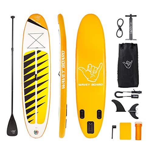 WAVEY BOARD Inflatable Stand Up Paddle Board Surfboard SUP Board Strong Layer PVC with Adjustable Paddle, Bags, Manual Pump, Repair Kit and Removable Fin for All Skill Levels | Yellow, YO607