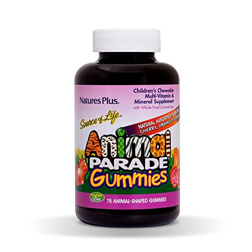 NaturesPlus Animal Parade Source of Life Gummies - Naturally Delicious Cherry, Orange & Grape Flavours - Animal Shaped Gummies Children's Multivitamin - Gluten Free (75)