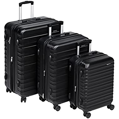 AmazonBasics Hardside Spinner Luggage - 3 Piece Set (20 , 24 , 28 ), Black