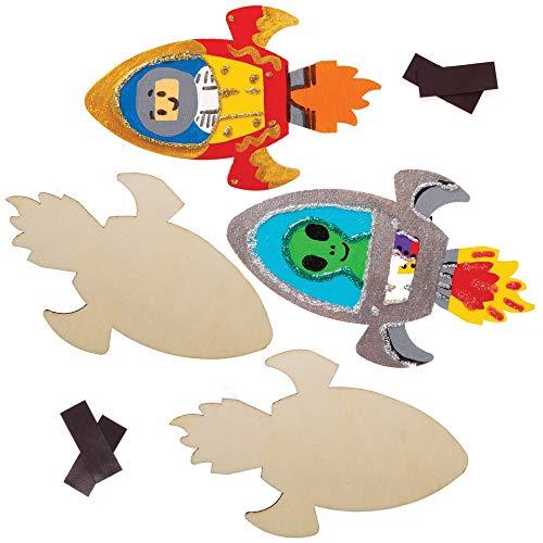 Baker Ross AW905 Rocket imanes de Madera, Artes y Manualidades para niños...