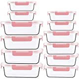 Crest Lot de 12 boîtes de conservation en verre avec bouchon et réservoir en verre anti-fuite sans BPA