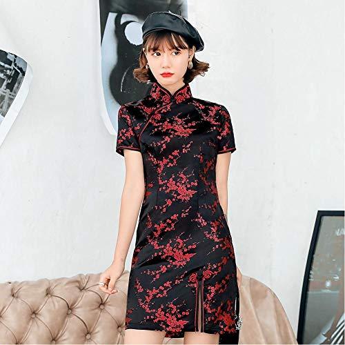 Chinese Vrouwelijke Satijnen Jurk Elegante Slanke Plus Size Qipao Mandarijn Kraag Cheongsam Sexy Hoge Split Formele Jurk