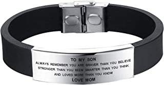 to My Son Always Remember You are Braver Than You Believe Bracelet Love Mom