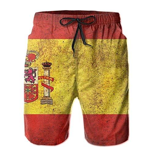 Herren-Badehose, lockere kurze Hose, bequem, modisch, mit Taschen, Vintage-Spanien-Flagge Gr. XL, mehrfarbig