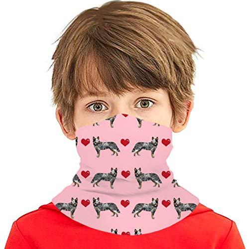 Pañuelo multiuso para niños y niñas, protección UV, protector para la cara, cuello, pasamontañas para verano, ciclismo, senderismo, deportes, al aire libre, ganado australiano, perro azul Heeler Love Hearts rosa