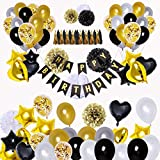 SUNPAT 98 Piezas de Decoraciones de Fiesta en Negro y Oro, Feliz Cumpleaños Banner Estrella Corazón Foil Globos 30 años 40 años 50 años 60 años 70años Cumpleaños Decoraciones Globos de Cumpleaños