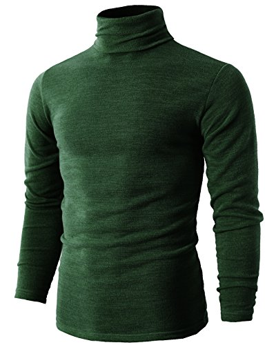 H2H Mens Easy Fit Chunky Cable Textured Knit Turtleneck Sweater Green US 2XL/Asia 5XL (KMTTL028)