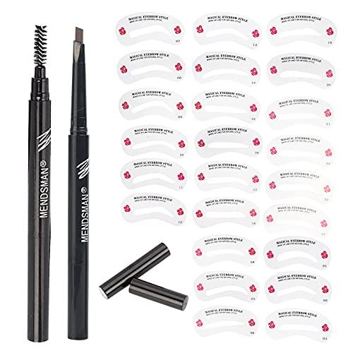 Kit de 24 pochoirs de sourcils réutilisables, 1 crayon à sourcils pour débutants et professionnels (Eyebrow Pencil + eyebrow template (Eyebrow pencil + eyebrow template(Brown))