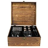Atterstone Whiskey Stones Gift Set Includes 2 Whiskey Glasses, 6 Chilling Whiskey Stones, Storage Bag, 2 Dark Stone Coasters, Silicone-Ended Tongs - Luxury Handmade Gift box with Etched interior