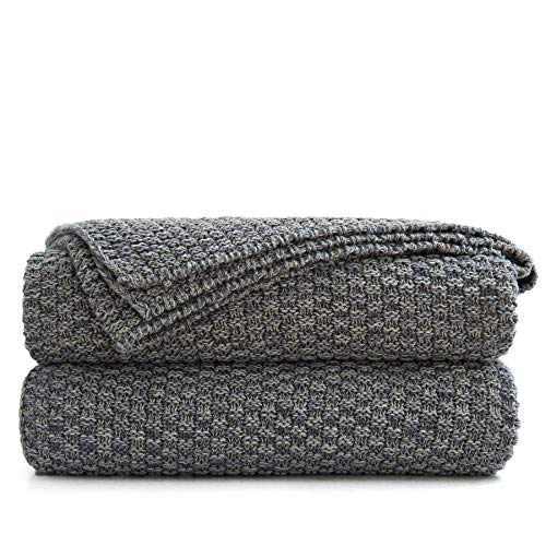 Longhui bedding Grey Knitted Throw Blanket for Couch, Soft, Cozy Machine Washable 100% Cotton Sofa...