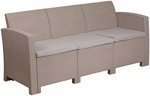 Best Flash Furniture Light Gray Faux Rattan Sofa with All-Weather Light Gray Cushions