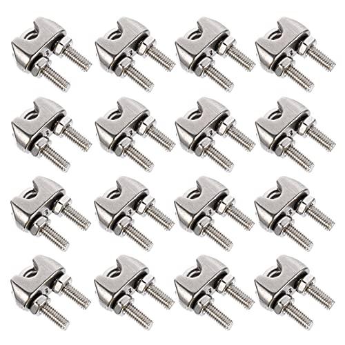 Angoily 16 Uds. Clips de Abrazadera de Cuerda de Alambre Surtido de Abrazaderas de Cable de Acero Inoxidable de Tipo U para Aparejo de Cable Y Cable de Cuerda