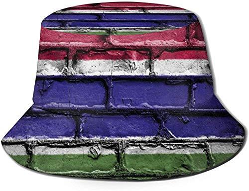 Unisex Bandera de El Salvador Banner Pared de Ladrillos Sombrero de Cubo de Viaje Gorra de Pescador de Verano Sombrero para el Sol-Bandera de Gambia Banner Pared de Ladrillos