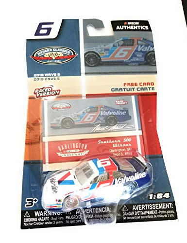 NASCAR Authentics Mark Martin #6 Diecast Car 1/64 Scale - 2019 Wave 5 with Collectible Card - Collectible