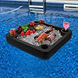 Polar Whale Large Floating Bar Table Serving Buffet Tray Drink Holders Swimming Pool Beach Party Float Breakfast Lounge Refreshment Durable Black Foam UV Resistant with Cup Holders 24 x 24 Inches