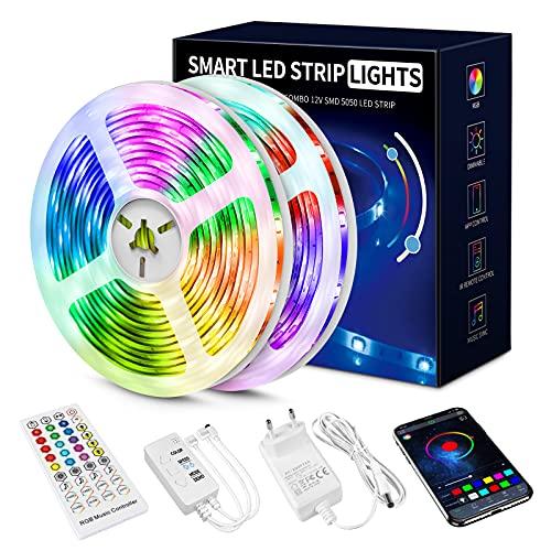 Led Strip 20m, 5050 RGB Led Streifen Selbstklebend mit Fernbedienung und APP 16 Mio. Farben, Led Kette Farbwechsel Led Lichterkette Sync mit Musik für Zuhause, Schlafzimmer, Küche, Party (20m)