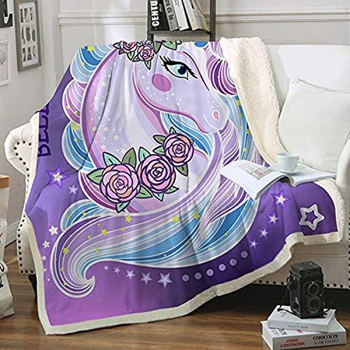 Zevrez Soft Unicorn Blanket for Girls Plush Fleece Sherpa Throw Blanket Purple Cute Unicorn with Flowers Pattern Blanket Large for Couch Bed Chair Sofa (Unicorn, 48'x60')