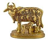 Haristore Brass Kamadhenu / Holy Cow and calf Idol (8 cm x 9.5 cm x 14 cm, Bronze)