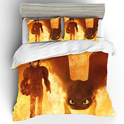 Bevvsovs 3D Bedding Duvet Cover Set, 3Piece Complete Set Pillow Cases Print Zip Easy Care Microfiber Anti-Allergic Soft Smooth Pillowcases( Double 200 x 200 cm Cartoon anime character animal dragon)
