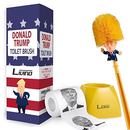 Livino Donald Trump Toilet Brush and Paper Bundle Funny Political Gag Novelty Item Dump Trump