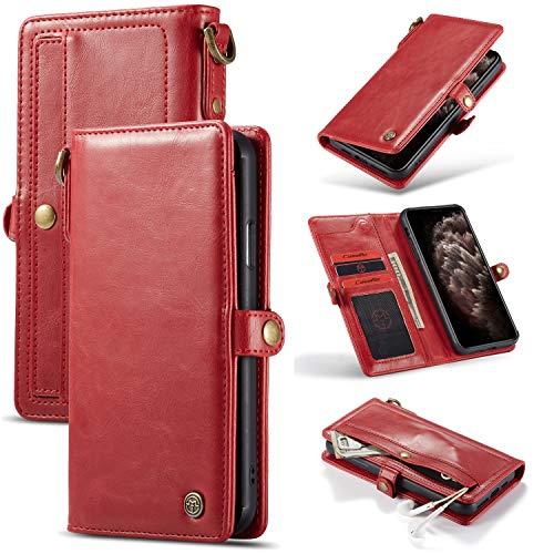 Caja del teléfono For IPhone 11 Pro Max extraíble loco textura de piel de caballo tirón magnético, con ranura for tarjeta de la cremallera y, marco de fotos y cuerda de seguridad, caja del teléfono mó