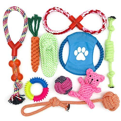Welpenspielzeug Set 10 Stück,Hundespielzeug Unzerstörbar,Hergestellt aus Natürlicher Baumwolle ungiftig und geruchlos Robust Besser für Zahnreinigung Geeignet für kleine Und Mittlere Hunde(Mehrfarbig)