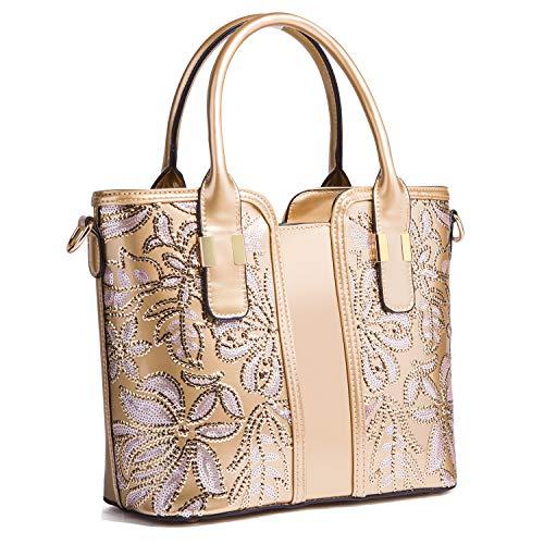 NOBRAND Bolsos de cara brillante de pintura para mujer, bolsos inclinados de gran capacidad para fiestas de trabajo y bolsos versátiles de viaje