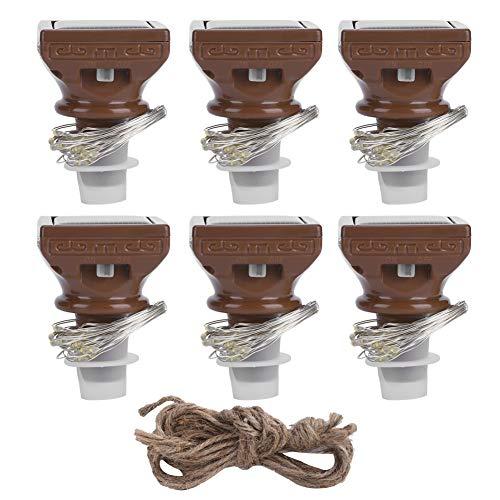 Zouminyy Flasche Kork Licht, Isolierung Design Flasche Kork Lichterkette, 6PCS 20LED Energiesparend für Schwimmbad Garten Patio Strandparty Hochzeitszelt Hinterhof
