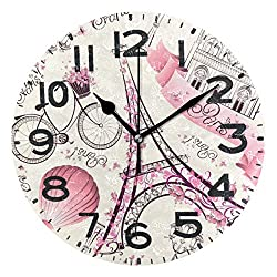 Naanle Romantic Paris Symbols Eiffel Tower with Flowers Butterfly Pattern Silent Round Wall Clock Decorative, 9.5 Inch Battery Operated Quartz Analog Quiet Desk Clock for Home,Office,School(Floral)