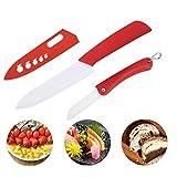 Cocina utensilios de cocina cocina de cerámica de los cuchillos del cuchillo del cocinero de la manija del cuchillo de pelado colorido cuchillos de cerámica (Color : Red, Size : 3 inch)